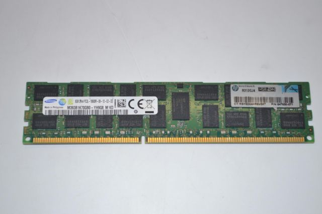 -A- DDR3 8GB DIMM REGISTERED PC3-10600 HP Genuine P/N: 647897-B2 Image