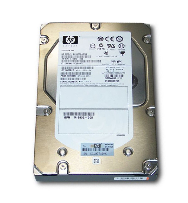 HP 300GB 15000RPM Fibre Channel 4Gbps Dual Port Hot Swap 3.5-inch Internal Hard Drive Image